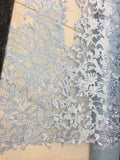 Sold By The Yard Blue Lace Fabric Corded Flowers Embroidery With Leafs For Wedding Dress - Supreme Acoustics