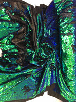 New Unicorn Green Black Iridescent Both SidesNewTwo Tone Flip up Sequins/Reversible Sequins Fabric Sold By The Yard - Supreme Acoustics