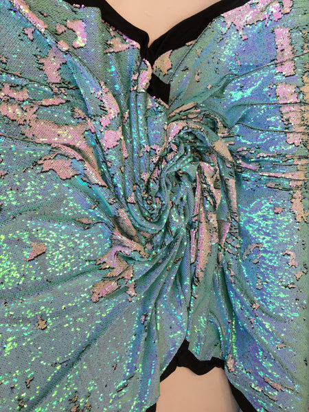 New Unicorn Aqua Mint White Pink Iridescent Both SidesNewTwo Tone Flip up Sequins/Reversible Sequins Fabric Sold By The Yard - Supreme Acoustics