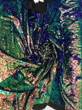 New Unicorn Royal Blue Green Iridescent Both SidesNewTwo Tone Flip up Sequins/Reversible Sequins Fabric Sold By The Yard - Supreme Acoustics