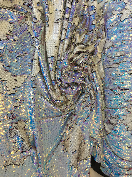 New Unicorn Aqua Blue White Lilac Iridescent Both SidesNewTwo Tone Flip up Sequins/Reversible Sequins Fabric Sold By The Yard - Supreme Acoustics