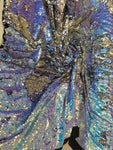 New Unicorn Aqua Blue Silver Lilac Iridescent Both Sides New Two Tone Flip up Sequins/Reversible Sequins Fabric Sold By