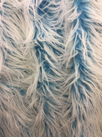 Frozen Polar Bear Shaggy Faux Fur Fabric / Turquoise / Sold By The Yard