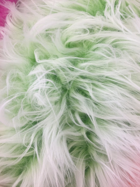 Frozen Polar Bear Shaggy Faux Fur Fabric / Green / Sold By The Yard
