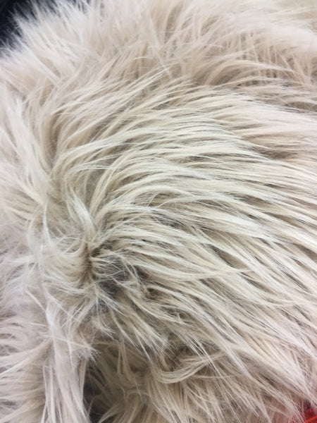 Faux Fake Fur Solid Mongolian Long Pile Fabric / Taupe / Sold By The Yard