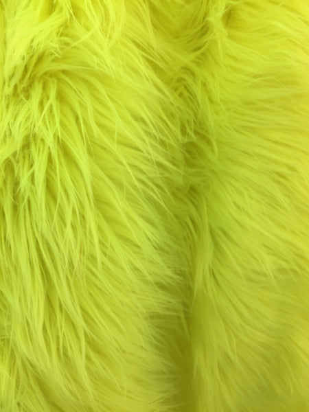 Faux Fake Fur Solid Mongolian Long Pile Fabric / Neon Green / Sold By The Yard - Supreme Acoustics