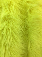 Faux Fake Fur Solid Mongolian Long Pile Fabric / Neon Green / Sold By The Yard