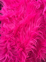 Faux Fake Fur Solid Mongolian Long Pile Fabric / Fuchsia / Sold By The Yard