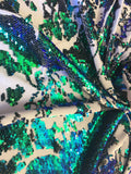 Stretch Velvet Sequins Iridescent Green/White Sequins Fabric Mermaid Reversible Embroidery On White Velvet 2 Way Stretch By The Yard - Supreme Acoustics