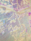 Stretch Velvet Sequins Iridescent Pink Sequins Fabric Mermaid Reversible Embroidery on Ivory Velvet 2 Way Stretch By The Yard