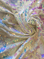 Stretch Velvet Sequins Iridescent Pink Sequins Fabric Mermaid Reversible Embroidery on Ivory Velvet 2 Way Stretch By The Yard - Supreme Acoustics