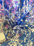 Stretch Velvet Sequins Iridescent Purple/Lavender Sequins Fabric Mermaid Reversible Embroidery On White Velvet 2 Way Stretch By The Yard