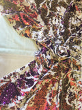 Stretch Velvet Sequins Iridescent Purple/Pink/Gold Sequins Fabric Mermaid Reversible Embroidery On White Velvet 2 Way Stretch By The Yard
