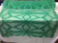 Bridal Beaded Fabric By The Yard Green Lace Heavy Beads For Bridal Veil Flower Mesh Dress Top Wedding Decoration