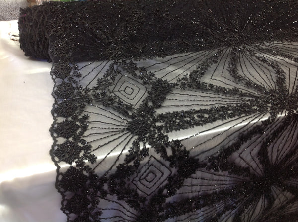 Bridal Beaded Fabric By The Yard Black Lace Heavy Beads For Bridal Veil Flower Mesh Dress Top Wedding Decoration