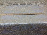 Bridal Beaded Fabric By The Yard Cream Lace Heavy Beads For Bridal Veil Flower Mesh Dress Top Wedding Decoration - Supreme Acoustics