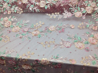 Floral Fabric 3D Flower Bridal Beaded Fabric Pink Heavy Embroidered Mesh Dress For Wedding Veil By The Yard