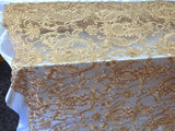 Gold 3D Flower Fabric Bridal Wedding Dress Embroidery Mesh Lace with Sequins Bead By Yard