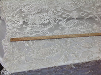 Ivory 3D Flower Fabric Bridal Wedding Dress Embroidery Mesh Lace with Sequins Bead By Yard