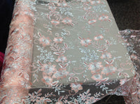Pink Metallic Flowers Embroider With Sequins And Corded On A Mesh Lace-Sold By The Yard.