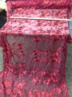 Burgundy Metallic Flowers Embroider With Sequins And Corded On A Mesh Lace-Sold By The Yard.
