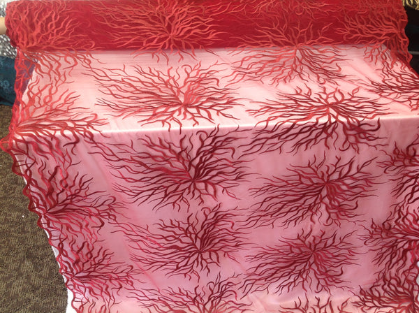 Luxurious Red Embroidered Root Design Mesh Lace Fabric Fashion By Yard Bridal Wedding Dress Prom and Decorations