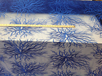 Luxurious Egg Royal Blue Embroidered Root Design Mesh Lace Fabric Fashion By Yard Bridal Wedding Dress Prom and Decorations