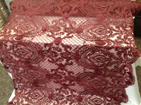 Burgundy 3D Flower Fabric Bridal Wedding Dress Embroidery Mesh Lace with Sequins Bead By Yard
