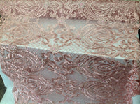 Dusty Rose 3D Flower Fabric Bridal Wedding Dress Embroidery Mesh Lace with Sequins Bead By Yard