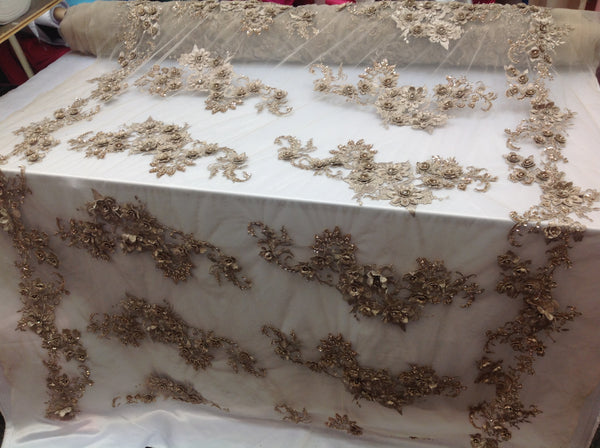Bridal Dresses tablecloths night gowns Skirts prom Taupe Beaded Multi-Color Floral Bridal Lace Flower Mesh Dress Wedding Decoration