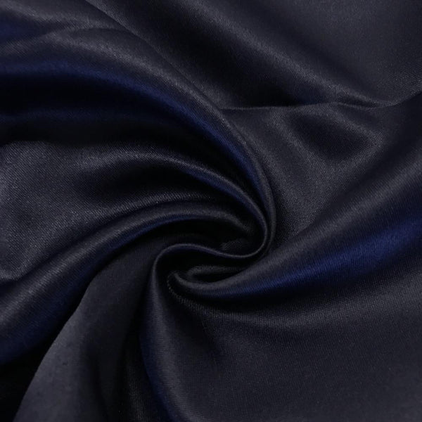 "Navy Matte Satin (Peau de soie) Dutchess Satin Fabric 60"" Inches 100% polyester By The Yard For Blouses, Dresses, Gowns and Skirts. - Supreme Acoustics"
