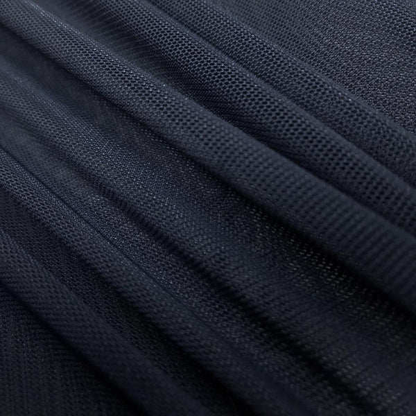 "Solid Power Mesh Fabric Nylon Spandex 60"" wide Stretch Sold By Yard Navy Blue"