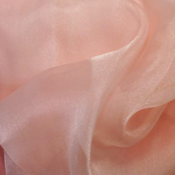 "Crystal Sheer Organza Fabric for Fashion, Crafts, Decorations 58"" By the Yard Peach - Supreme Acoustics"