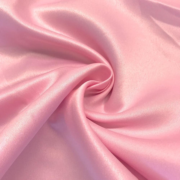 "Pink Matte Satin (Peau de soie) Dutchess Satin Fabric 60"" Inches 100% polyester By The Yard For Blouses, Dresses, Gowns and Skirts."