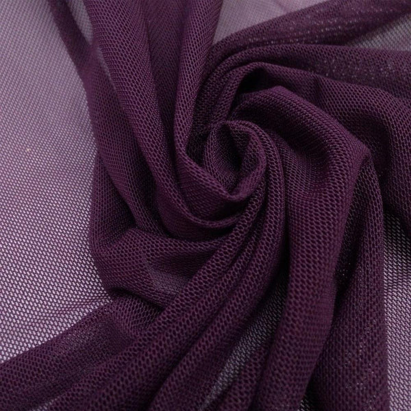 "Solid Power Mesh Fabric Nylon Spandex 60"" wide Stretch Sold By Yard Plum - Supreme Acoustics"