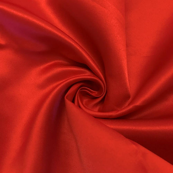 "Red Matte Satin (Peau de soie) Dutchess Satin Fabric 60"" Inches 100% polyester By The Yard For Blouses, Dresses, Gowns and Skirts."
