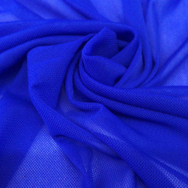 "Solid Power Mesh Fabric Nylon Spandex 60"" wide Stretch Sold By Yard Royal Blue"