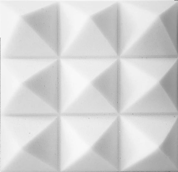 "SOUNDPROOF FOAM ACOUSTIC FOAM 12 PACK KIT PYRAMID WHITE 4"" 24"" X 24"" COVERS 48SQ FT - SOUNDPROOFING/BLOCKING/ABSORBING ACOUSTICAL FOAM - MADE IN THE USA!"