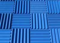 "2"" Blue Acoustic Foam (12 Pack Kit) - Wedge 2"" 12"" x 12"" covers 12sq Ft SoundProofing/Blocking/Absorbing Acoustical Foam - Made In USA!"