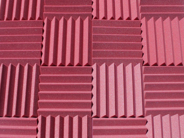 "2"" Burgundy Acoustic Foam (12 Pack Kit) - Wedge 2"" 12"" x 12"" covers 12sq Ft SoundProofing/Blocking/Absorbing Acoustical Foam - Made In USA!"