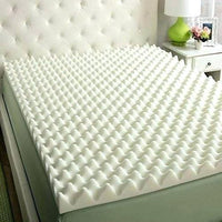 "3"" X 33"" X 72"" Egg Crate Convoluted Foam Mattress Pad - 3"" Thick EggCrate Mattress Topper White/Off White/Yellow - Supreme Acoustics"