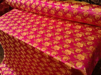 "Elegant Gold Floral Fuschia Metallic Jacquard Brocade 60"" By the Yard"