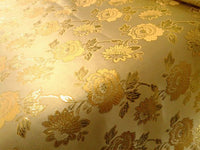 "Elegant Gold Floral Gold Metallic Jacquard Brocade 60"" By the Yard"