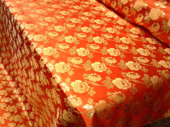 "Elegant Gold Floral Orange Metallic Jacquard Brocade 60"" By the Yard"