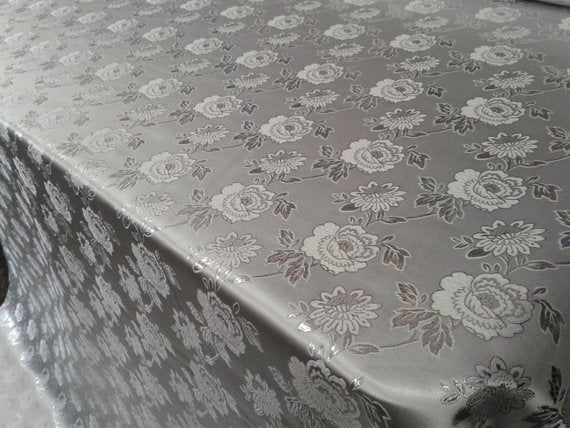 "Elegant Silver Floral Silver Metallic Jacquard Brocade 60"" By the Yard - Supreme Acoustics"