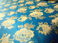 "Elegant Gold Floral Turquoise Metallic Jacquard Brocade 60"" By the Yard"