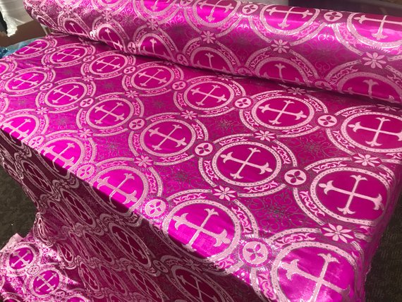 "Fuschia Metallic Jacquard Silver Cross Design Fabric 60"" Sold by the yard"