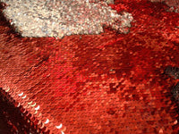 Flip-Up Mermaid Reversible Sequins (Red/Silver)Two Tone By Yard