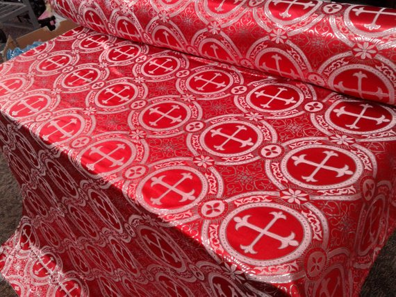 "Red Metallic Jacquard Silver Cross Design Fabric 60"" Sold by the yard"