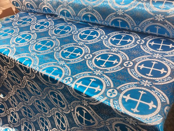 "Turquoise Metallic Jacquard Silver Cross Design Fabric 60"" Sold by the yard - Supreme Acoustics"